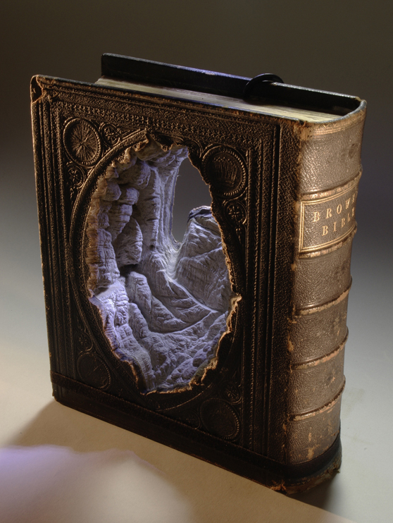 Landscapes Carved Into Books By Guy Laramee - A Caverna