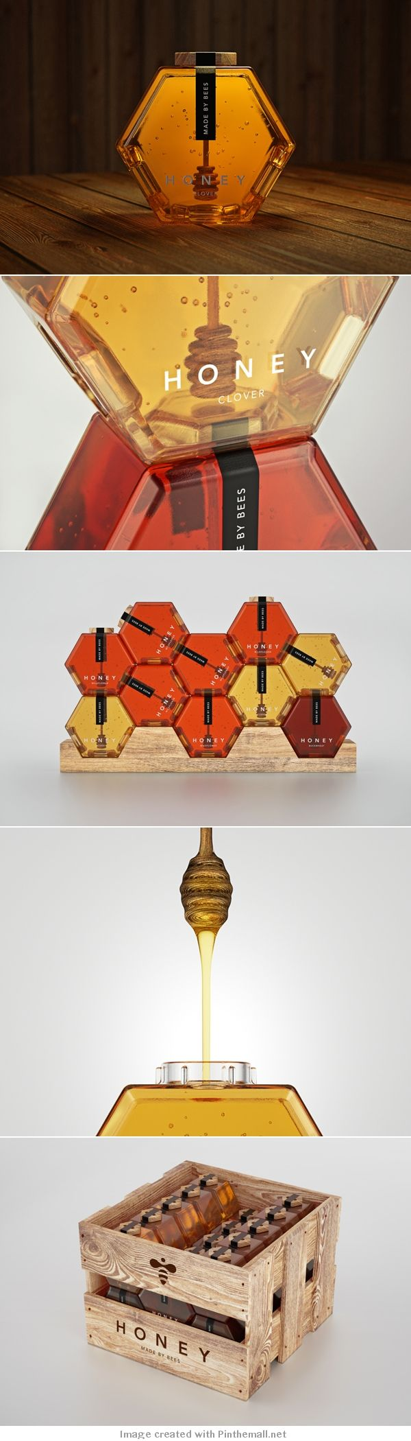 Hexagonal Honey Bottle Packaging Concept by Maksim Arbuzov